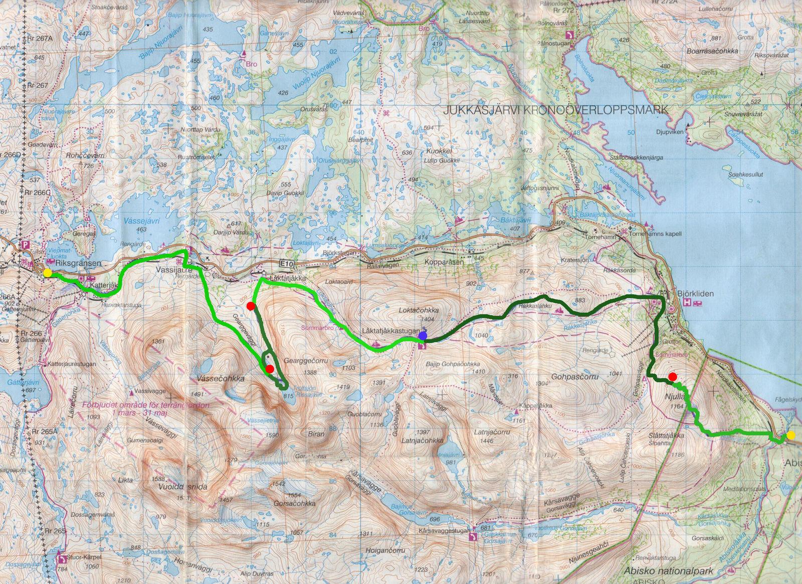 Karta Riksgransen Abisko.Riksgransen To Abisko By Rissajaure Och Lakktatjokka Mountainlodge
