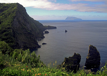 Flores, Azores, Corvo in the distance