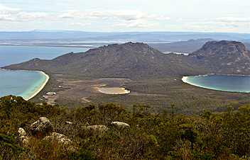 Freycinet Peninsula Circuit: Hazards beach (on the left) and Wineglass Bay beach (on the right) as viewed from Mt Graham (578m) - by Bo